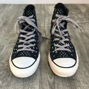 Converse Shoes - Converse Black Leather High Top Silver Polka Dot 8